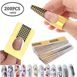 200PCS Nail Art Tips Extension Forms Guide French DIY Tool Acrylic UV Gel Tools,4PCS Water Transfer Nail Art Stickers Manicure Nail Tips Decorations (AABB010A)
