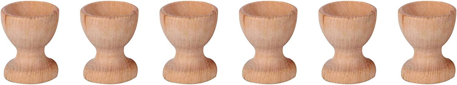 Super intense SALE In stock VALICLUD 6pcs Wooden Egg Cups Easter Holder DIY Blank Painti