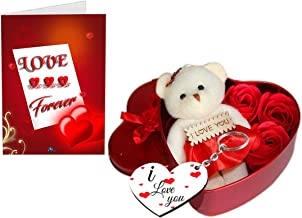 Sky Trends Unique Valentine day gift for Wife | Special Valentine's day gift for Lover | Valentine's day gift for Lover | Valentine day gift for Wife (Heart shaped Box with Teddy and Roses and Wooden Keychain) and Greeting Card