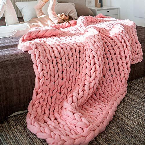 EXQUILEG Grob Gestrickte Kuscheldecke,Decke Handgefertigt Riese Klobig Sticken Sofa Decke Zuhause Dekor Geschenk (80x100cm,Rosa)
