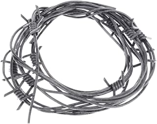 Nicky Bigs Novelties 8' Fake Silver Barbed Barb Wire Halloween Decoration Wire Prop Gray Garland