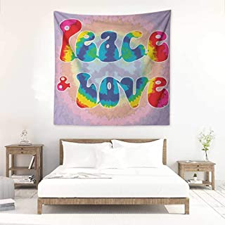 Willsd Groovy DIY Tapestry Peace and Love Text in Tie Dye Pattern Energetic Youthful Fun 60s 70s Hippie Design Occlusion Cloth Painting 39W x 39L INCH Multicolor