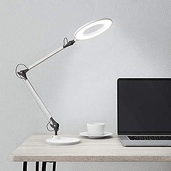 Lavish Home 72-LMPEC-2 Swing Arm Architect Desk Lamp, LED Ring Stepless Dimming-High CRI 95-Eye Friendly Task Lighting for Reading, Drafting & Office, White