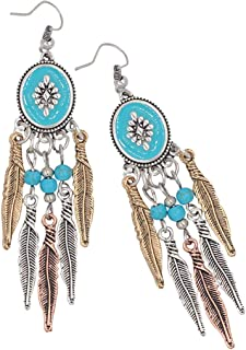 F Fityle 1 Pair Personality Turquoise Long Tassel Earrings Geometric Retro Drops Stud Earrings Long Tassel Jewelry for Wom...