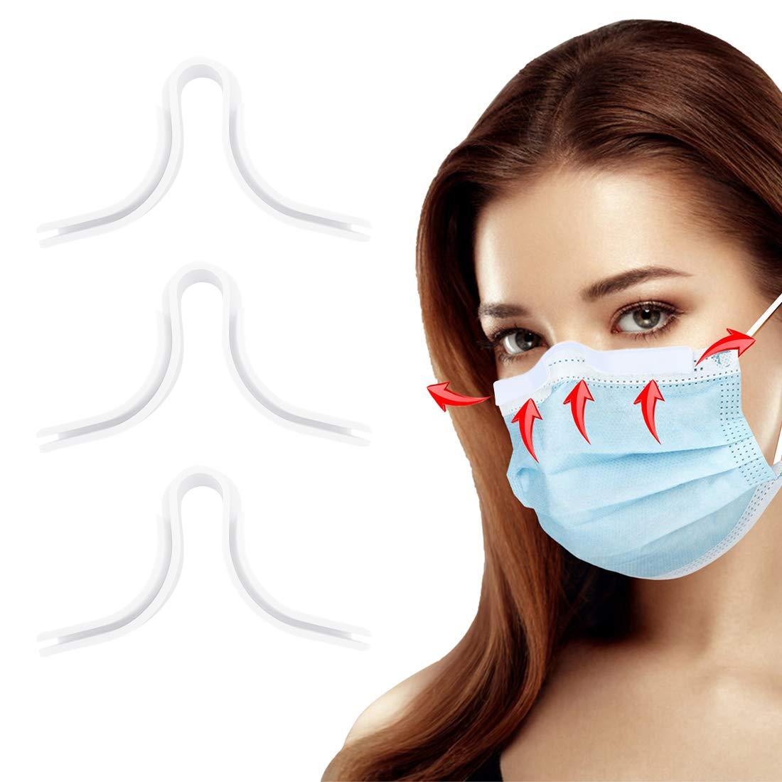 HSAJS Puente nasal para cubierta facial,Puente Nasal Antivaho de Silicona Reutilizable,Antiniebla, puente nasal, soporte para puente nasal, respiración más suave, antideslizante (Blanco)