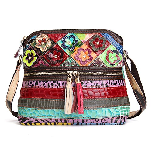 OB OURBAG Mehrfarbig Floral Umhängetasche Damen, Frauen Schultertasche Blumenmuster Henkeltasche PU Leder Handtasche Neue Modische Tote Tasche Groß(Mehrfarbig#01)