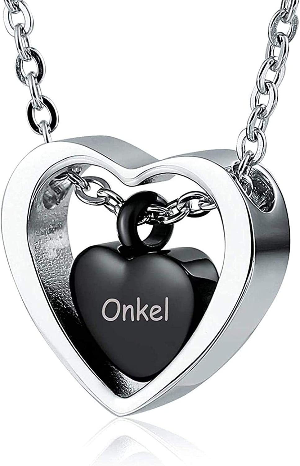 Jewelry Memorial Pendant Ashes Memorial Stainless Steel Love Black Stainless Steel Ur Pendant Necklace Memorial Ashes Souvenirs Souvenirs Cremation Jewelry