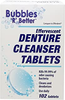 Bubbles 'R' Better Single Layer Effervescent Denture Cleanser Tablets, 306Count (3 Pack of 102Count)