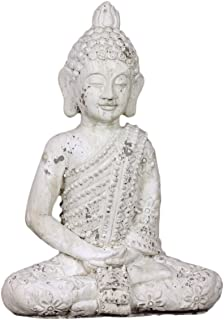 Benzara Majestic Stoneware Attractive Sitting Buddha, White