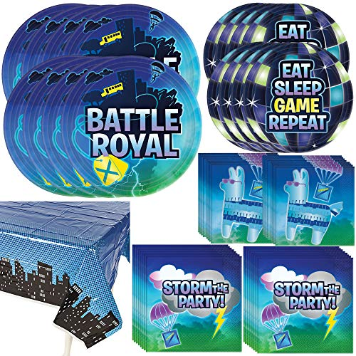 Amscan Battle Royale Dinnerware Bundle   Luncheon & Beverage Napkins, Dinner & Dessert Plates, Table Cover   Great for Kids Birthday, Gaming & Loot Themed Event, Costume Party