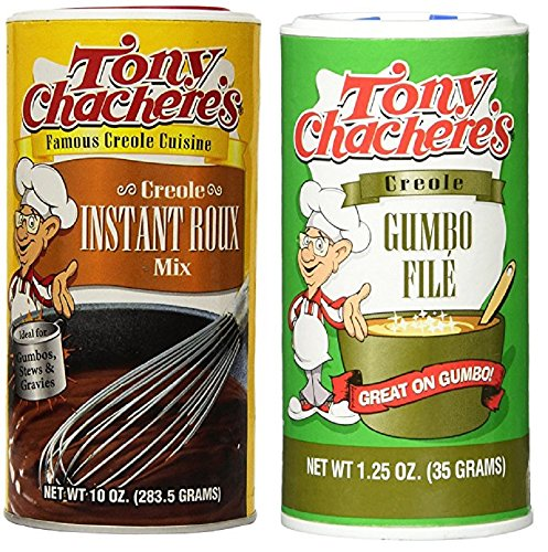Tony Chachere's Gumbo Bundle - 1 Each of 10 Ounce Tony's Creole Instant Roux Mix and 1.25 Ounce Tony's Gumbo File