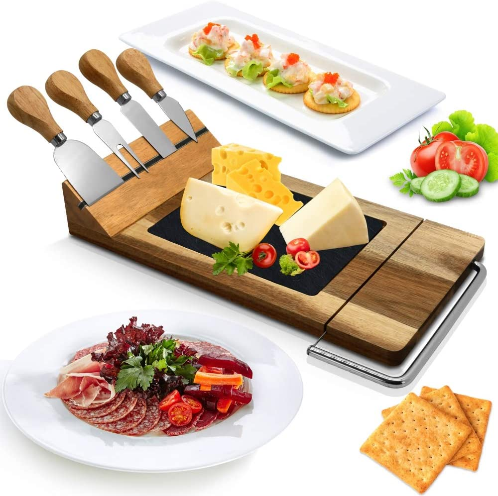 Nutrichef Slicing Bamboo Cheese Steel Columbus Mall Board Stainless Platter-4 Very popular