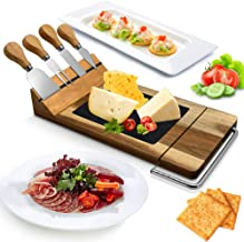 Nutrichef PKCZBD50 Bamboo Board Cutlery Set-Modern Wood Cheese Platter Serving Tray w/Stone Slab Plate, Stainless Steel Knives, Magnet Holder, Slicer Blade for Cutting Food, Fruit, Meat,