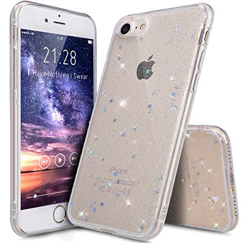 Kompatibel mit iPhone 8 Hülle,iPhone 7 Hülle,Shiny Glänzend Bling Glitzer Sterne Pailletten Diamond Diamant TPU Silikon Hülle Tasche Hülle Durchsichtig Handyhülle Schutzhülle für iPhone 8/7,Klar A
