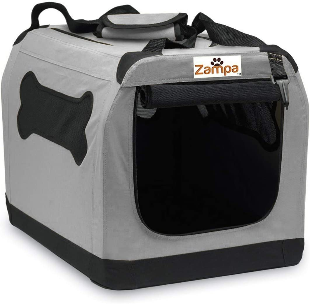 """Pet Portable Crate – Great for Travel, Home and Outdoor – for Dog's, Cat's and Puppies – Comes with A Carrying Case ((19.5""""x 13.5"""" x 13.5""""), Grey/Black)"""