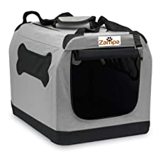 """Zampa Pet Portable Crate – Great for Travel, Home and Outdoor – for Dog's, Cat's and Puppies – Comes with A Carrying Case ((19.5""""x 13.5"""" x 13.5""""), Grey/Black)"""