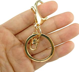 Honbay 20pcs Zinc Alloy Gold Lobster Claw Clasp Keychain, Key Ring Loop Key Holders with Flat Split Ring