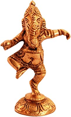 Purpledip Brass Statue: Dancing Ganesha (Ganapathi/Vinayaka) Idol in Unique Posture (11087)