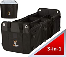 Tuff Viking 3-in-1 Convertible Large Trunk Organizer with Free Insulated Leakproof Cooler Bag a $12.99 Value and Tie Down Straps   SUV Organizer   Truck Bed Organizer (3 Compartments w/Cooler, Black)