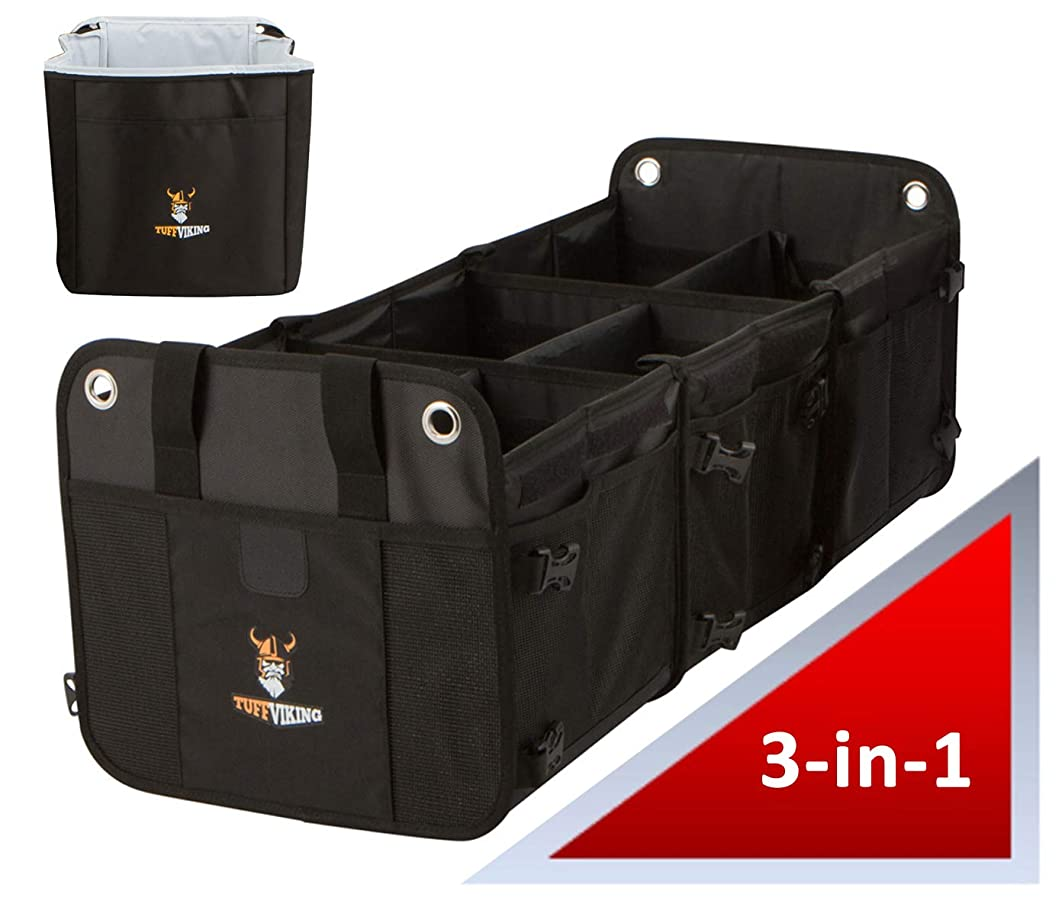 Tuff Viking SUV Trunk Organizer for Cars | SUV Cargo Organizer and Grocery Organizer for SUV, Auto, Minivan, Jeep 3-in-1 with Insulated Cooler Bag with Tie Down Straps (3-in-1 w/Cooler, Black)