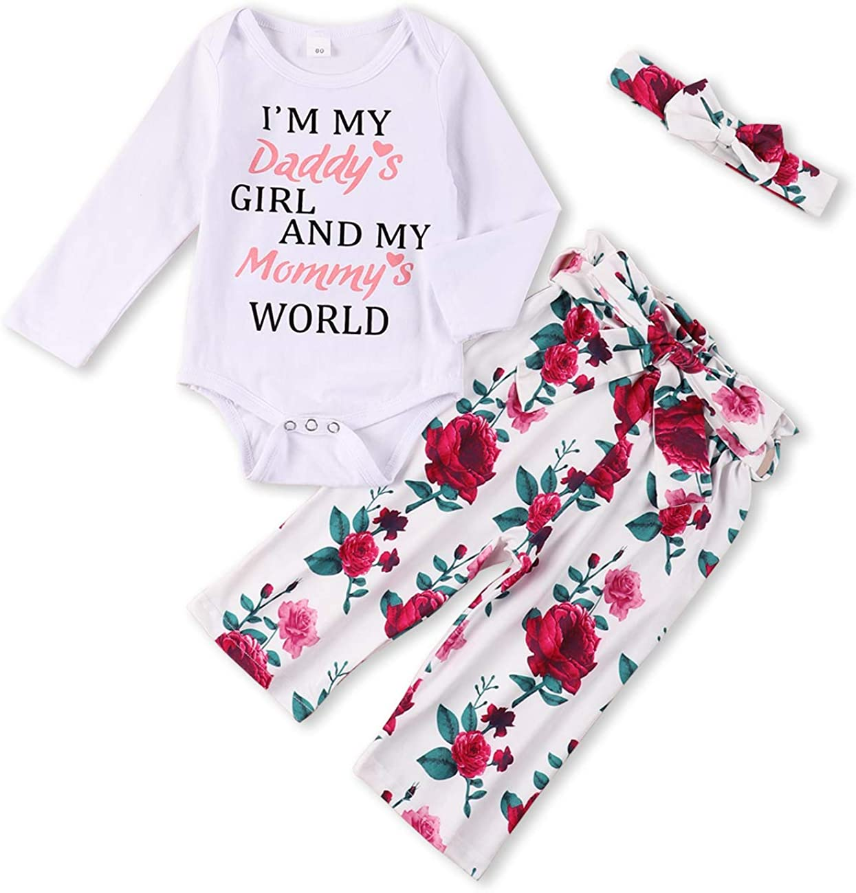 Toddler Baby Girls Clothes Infant Baby Girl Clothes Romper Top and Pants Set for Girl