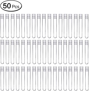 LANGING 50Pcs Plastic Test Tubes Clear Sample Containers for Scientific Experiments Party Candy Storage with Caps
