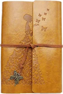 Leather Journal, Classic Spiral Bound Notebook Refillable Sketch Book Travel Journal to Write in for Women Girls with Gift Box