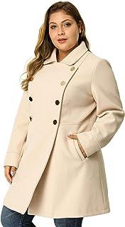 Yunmic Plus Size Womens Lapel Collar Double Breasted Blazer Winter Contrast Lined Faux Fur Parka Coat Jacket