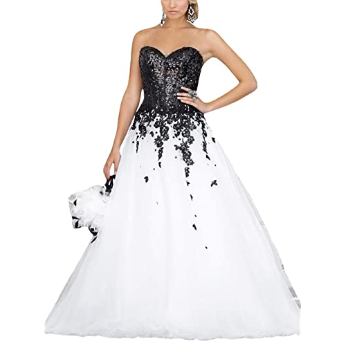 92b5f8ff4d34 FTBY Sweetheart Prom Dress Sequin Evening Dress Tulle Ball Gowns Sleeveless  Evening Party Dress