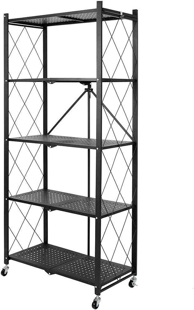 選択 Tolsous 5-Shelf Foldable Storage オーバーのアイテム取扱☆ Shelves Caster with Larg Wheels