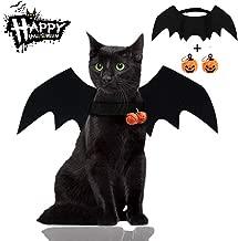 Malier Halloween Cat Costume for Cats Dogs Pet Bat Wings Cat Dog Bat Costume Wings (Bat Wings with Pumpkin Bells)
