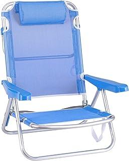 Silla Playa con cojín de 4 Posiciones de Aluminio y textileno de 61x47x80 cm (Azul)