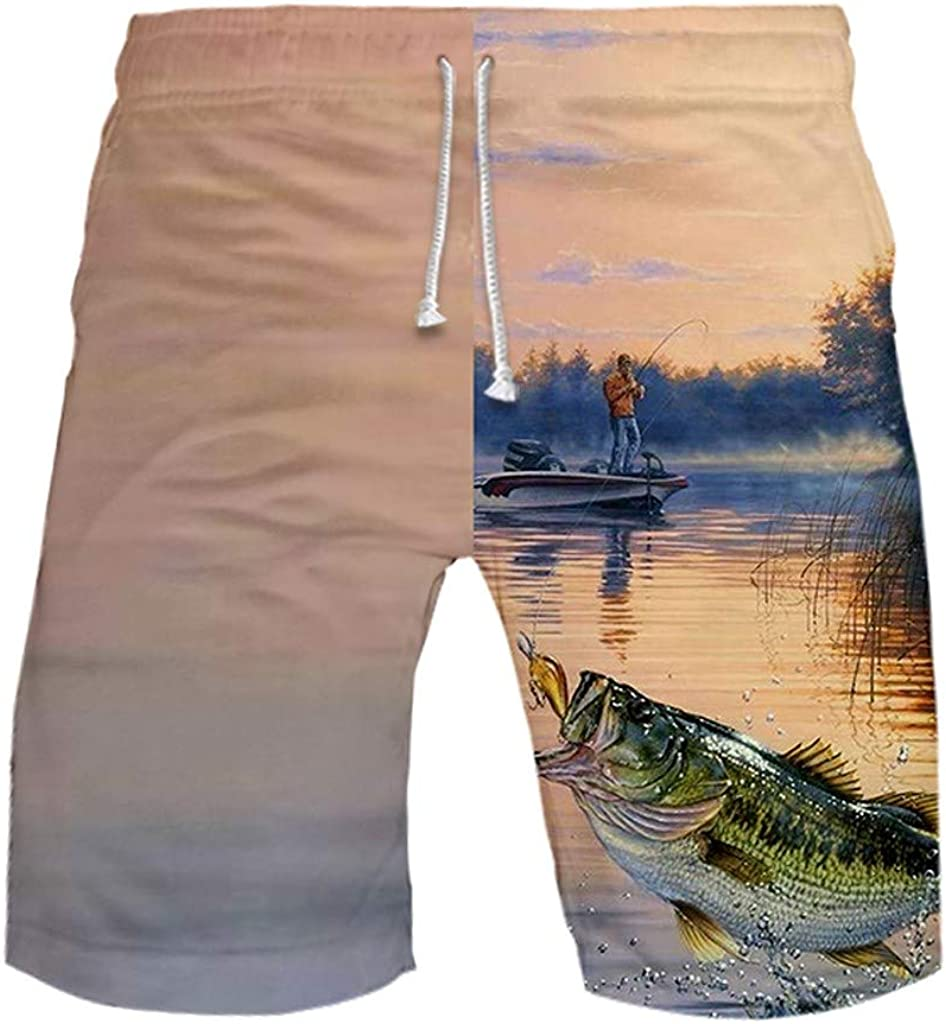 Gergeos Men's Swim Trunks Summer Quick Dry Surfing Beach Board Shorts Funny Fishing Printed Shorts