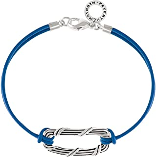 Peter Thomas Roth Sterling Ribbon & Blue Leather Reed Bracelet