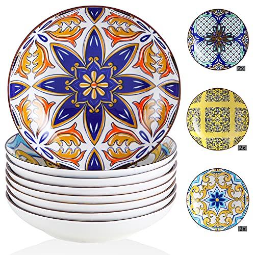 Suppenteller Porzellan, vancasso JASMIN 8 teilig Tiefteller bunt, Ø 21 cm, Geschirr Tellerset Suppenschalen, Aladin Serie, 700ml