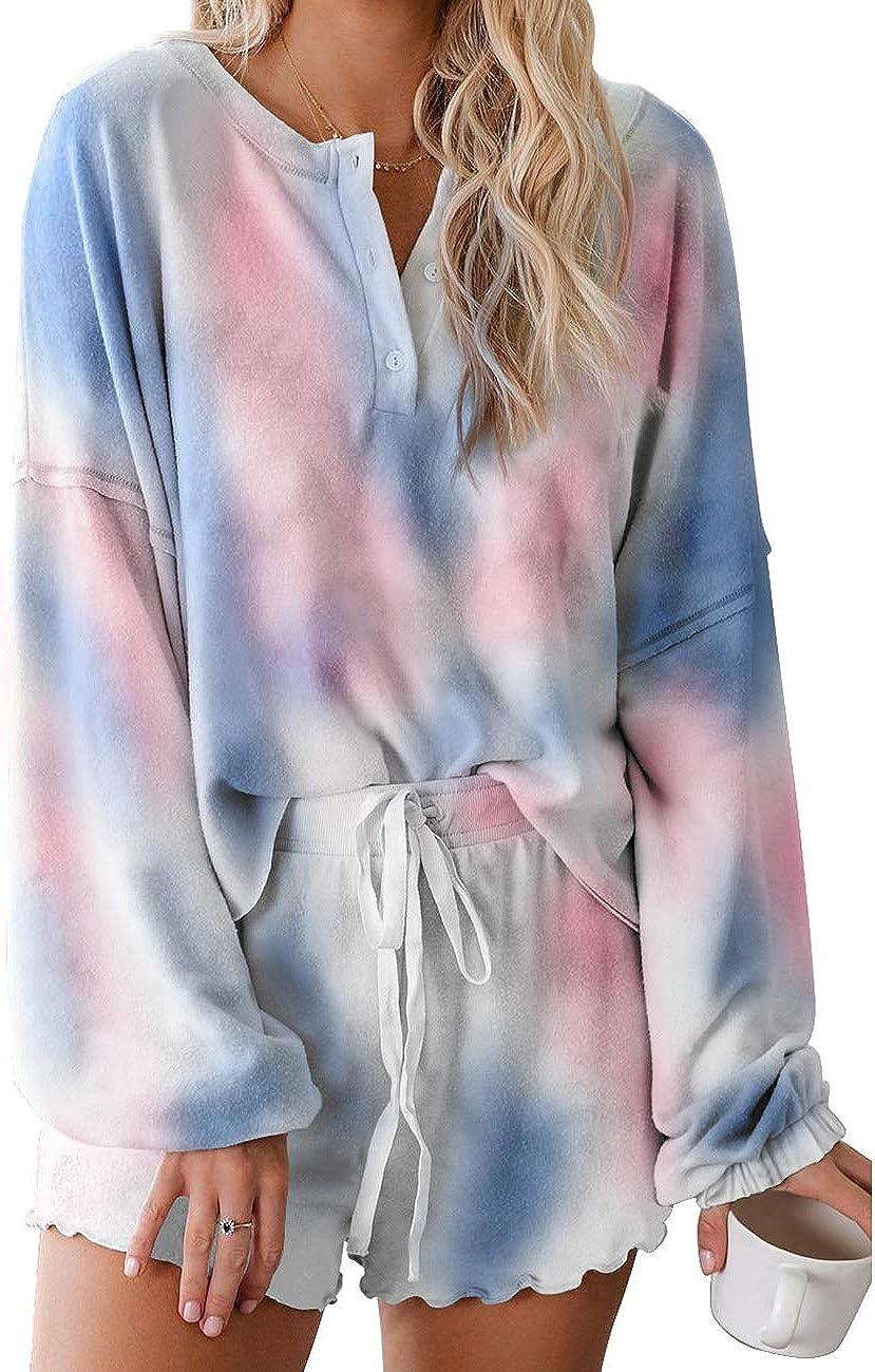 MAYFASEY Women's Tie Dye Printed Pajama Set Long/Short Sleeve Tops and Shorts PJ Set Loungewear Nightwear Sleepwear