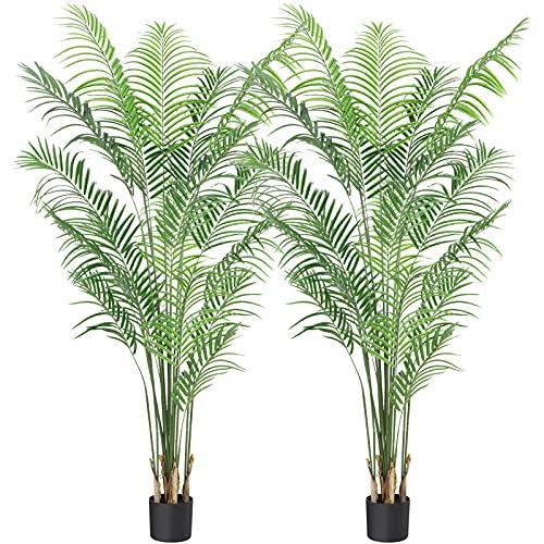 CROSOFMI Artificial Areca Palm Plant 5.9Feet Fake Tropical Palm Tree, Perfect...