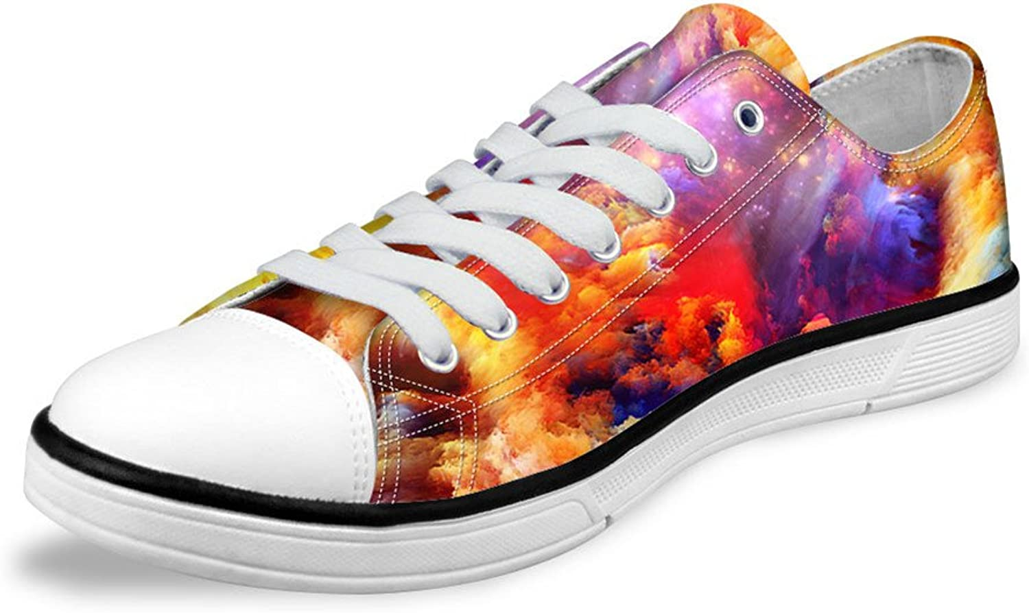 FOR U DESIGNS Stylish colorful Sky Cloud Pattern Lo-top Lace Up Canvas Women Sneaker US 11