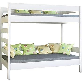 Dino bunk bed, letto a castello in legno per bambini, Legno, White, 160x80x160