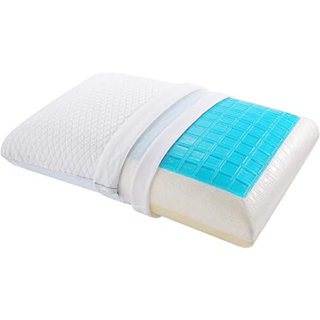 Back Memory Foam Pillow Cervical Neck Gel Cooling for Side Stomach sleepers