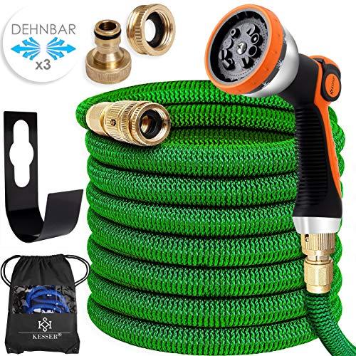 Kesser® Premium Flexibler Gartenschlauch | 30m ausgedehnt |+ Wandhalterung | Wasserschlauch flexibel mit 3-Fach Latexkern | dehnbarer flexiSchlauch |Verschraubungen aus hochwertigem Messing, Grün