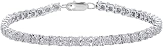 Dazzlingrock Collection Round Gemstone & White Diamond Ladies Cluster Tennis Link Bracelet, Sterling Silver