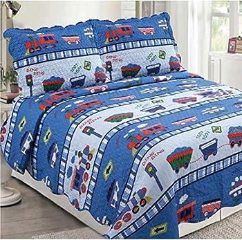 Golden Linens 3 pcs  1 Quilt 2 Pillow Cases  Bedspread Kids Quilt Multicolor Blue Train at Work # Full Toot Toot Train 29