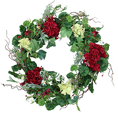 The Wreath Depot Belmont Silk Decorative Front Door Wreath 24 Inch, Beautiful White Gift Box
