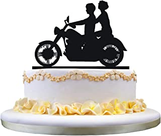 Motorcycle Cake Topper with Bride and Groom