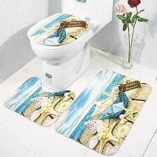 LUDSUY 3枚/セットノンスリップ浴室ペデスタル蓋マットトイレラグペブル足首は非スリップ吸収浴室フットカーペット、シーサイド紙のボートを印刷します