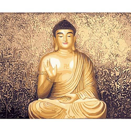 zhxx Acryl-Malen-nach-Zahlen-Set, goldene Buddha-Figur, Digitale Wandkunst, Malerei auf Leinwand, Geschenk, 40,6 x 50,8 cm Ohne Rahmen