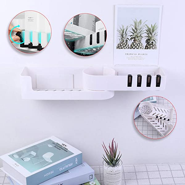 CapsA Seamless Rotating Bathroom Wall Shelf Tripod Seamlessly Tripod Seamlessly 90 Degree Rotating Bathroom Shelves Heavy Duty 2 Tier Storage Shelves Triangle Baskets With Hooks
