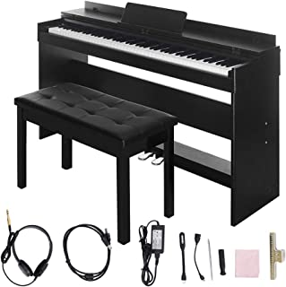 $389 Get Digital Piano,Les Ailes de la Voix 88 Key Electric Piano Portable for Beginner Adults with Bench,3 Pedal Board,Music Stand,Power Adapter, Headphone,Instruction Book Black