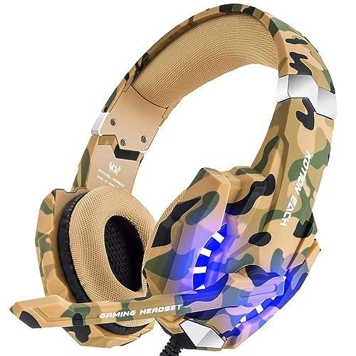 Auriculares Gaming Estéreo con Micrófono Cascos Gamer Profesionales, Grave Amplificado Over-Ear